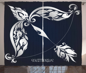 Planetary Curtain Astrology Zodiac Sign Print 2 Panel Window Drapes