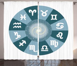 Zodiac Universe Signs Curtain