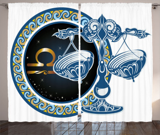 Libra Sign Astrological Curtain