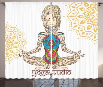 Meditating Girl Mandala Curtain