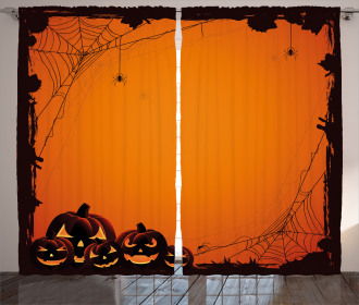 Halloween Pumpkin Scary Curtain