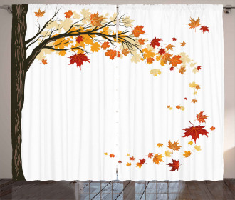 Flying Maple Leaf Seasons Curtain