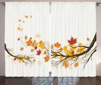 Seasonal Tree Branches Autumn Curtain