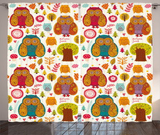 Colorful Owl Woodland Animals Curtain