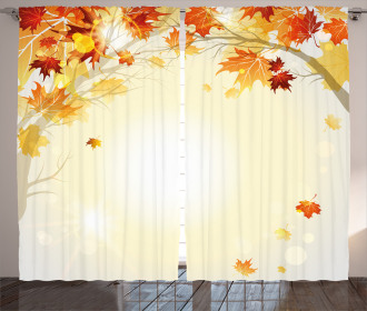 Autumn Leaves and Tree Curtain