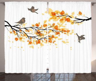 Flying Birds and Leaves Curtain