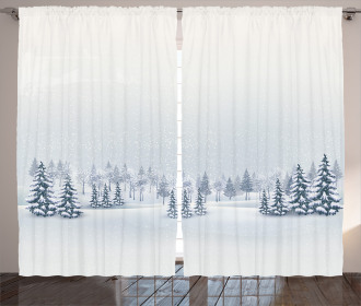 Foggy Weather Trees Curtain