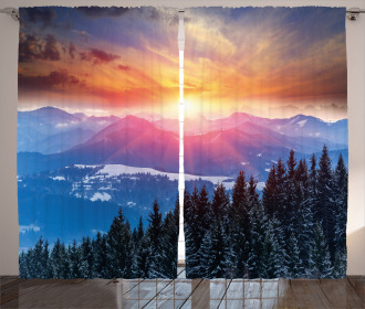 Sunset in Mountains Curtain