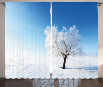 Snow Covered Alone Tree Curtain