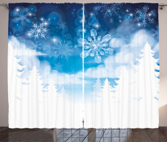 Snowflakes and Stars Curtain