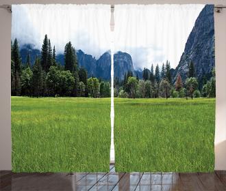 Green Meadow Scenery Curtain