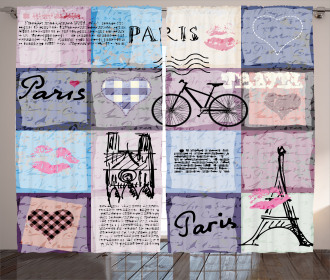 Eiffel Tower Love Letter Curtain