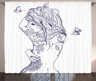 Young Girl with Tattoo Curtain