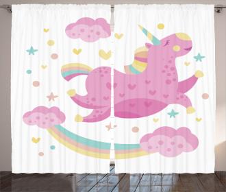 Unicorn with Star Rainbow Curtain