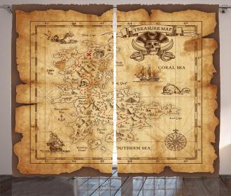 Old Paper Treasure Map Curtain