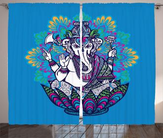 Elephant Mandala Pattern Curtain