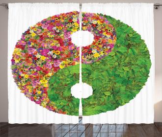 Flowers Leaves Symbol Curtain