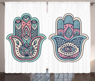 Asian Boho Evil Eye Lotus Curtain