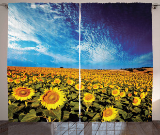 Sunflower Garden Nature Curtain