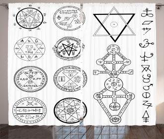Collage of Magic Symbols Curtain