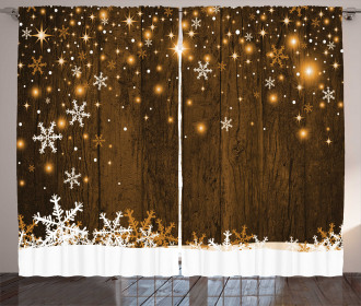 Wood and Snowflakes Curtain