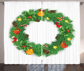 Evergreen Wreath Art Curtain