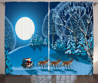 Santa Winter Forest Curtain