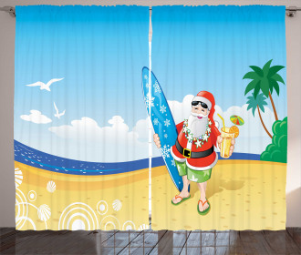 Santa on Beach Surf Curtain