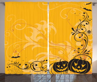 Pumpkins Bats Halloween Curtain