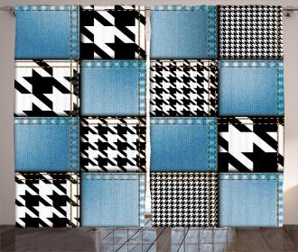 Denim Patchwork Curtain