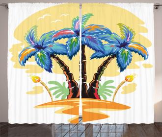 Cartoon Island Sunset Curtain