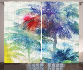 Watercolor Palm Retro Curtain