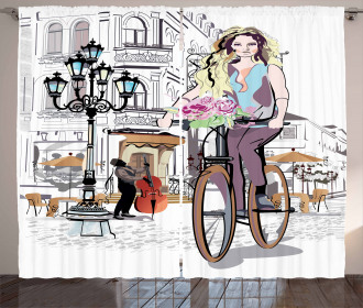 Lady Rides Bicycle Roses Curtain