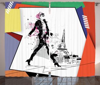 Tower Walking Girl Art Curtain