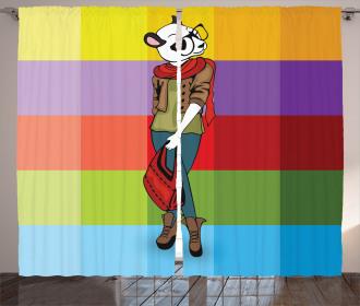 Cartoon Fox Fashion Funny Curtain