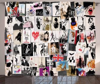 Collage Fashion Modern Curtain