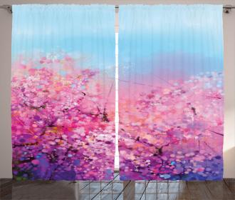 Cherry Spring Theme Curtain