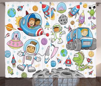 Cute Space Kids Rocket Curtain
