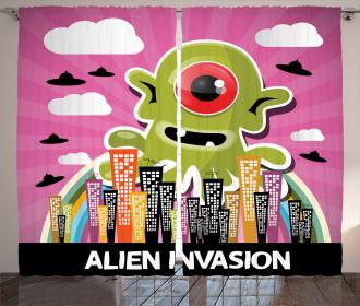 Cartoon Alien Invasion Curtain