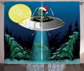 Alien Christmas Art Curtain