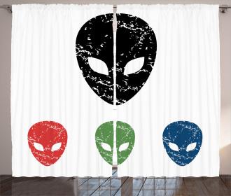 Grunge Alien Heads Art Curtain