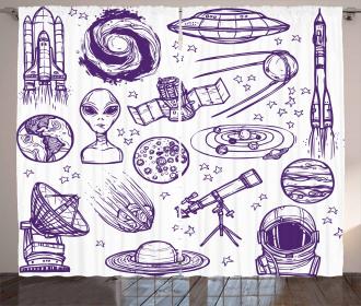 Sketch Alien Planet Art Curtain