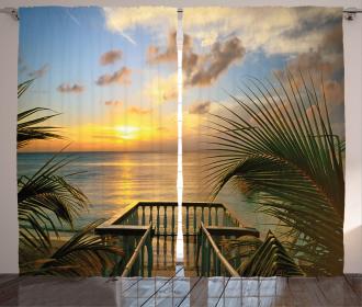 Palms Sunset Scenery Curtain