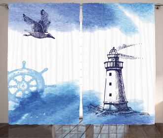 Handdrawn Art Anchor Curtain