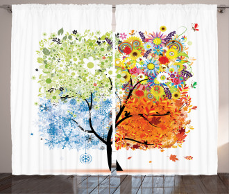 Flowers Four Season Theme Curtain