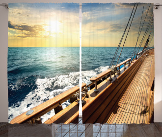 Sailboat Sunset Sea Curtain