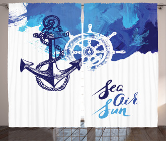 Nautical Wheel Ocean Curtain