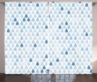 Raindrops White Navy Curtain