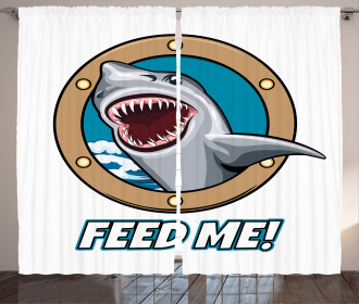 Feed Me Quote Shark Curtain