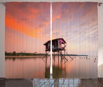 Sunset Ocean Twilight Curtain